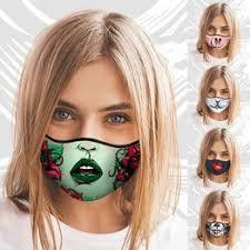 Women Fashion 3D Print Funny Breathable Cotton Mask ... - Vova