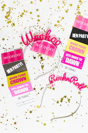 printable hen party invites invitations bachelorette party printable hen party invites invitations crown glory head band fun woohoo