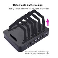 6-Port <b>USB Charging Station</b> Dock <b>Stand</b> & Organizer, Multi Port ...