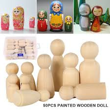 50pcs wood peg dolls maple unpainted kids birthday gifts handmade unfinished weddings cake decor teething toys set