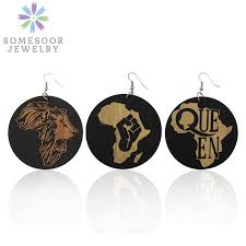 SOMESOOR Carved African Map Natural Wood Drop Earrings ...