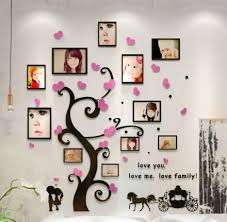 2015 hot happy tree with photo frame 3d acrylic wall stickers bedroom furniture living room sofa acrylic bedroom furniture