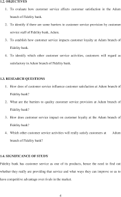 To establish how customer service impacts customer loyalty at Adum branch of Fidelity bank    DocPlayer net