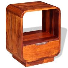 Buy <b>Nightstand</b> with Drawer <b>Solid</b> Sheesham Wood <b>40x30x50 cm</b> ...