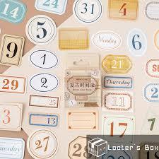 45 <b>Pcs</b> Days Number & Label <b>Vintage Decorative</b> Sticker Pack (L2477)