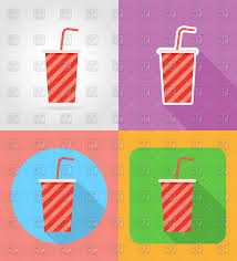 soda in paper cup fast food flat icons vector image  soda in paper cup fast food flat icons click to zoom