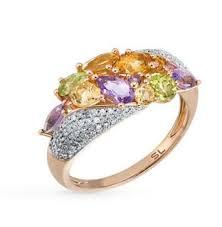 Золотое <b>кольцо</b> с <b>хризолитом</b>, аметистом, цитринами и ...