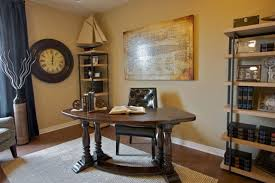 classic home office deco comes with vintage teak wood office table and open wall shelves attractive vintage home office
