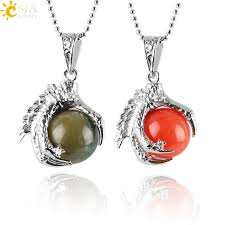 <b>CSJA Natural Gem Stone</b> Beads Dragon Claw Necklaces & Pendant ...