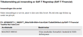 Norwegian SAF-<b>T</b> Financial data