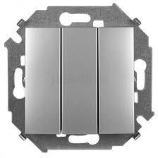 <b>Выключатель</b> трехклавишный Без рамки Алюминий <b>Simon</b> 15 ...