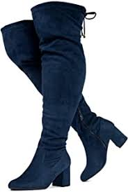 <b>Casual Women</b> Chic Cowboy Buckle <b>Jeans</b> Pull On Mid Heels Knee ...