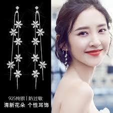 Korean temperament pure silver <b>earrings</b> female simple long ...