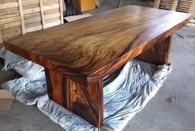 wood slab dining table beautiful: reclaimed solid slab acacia wood dining table by flowbkk