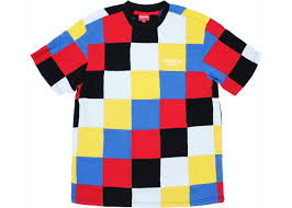 <b>Supreme</b> Patchwork Pique Tee <b>Red</b>/<b>Yellow</b>/Blue - FW18
