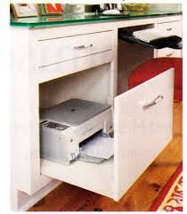 fake cabinet front on rollers for printer storage built in office desk ideas