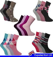 Socken <b>12 PAIRS Ladies</b> Printed Socks Girls <b>Cotton</b> Rich Socks ...