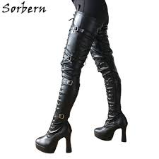 sorbern lethal 12cm silver metal heel 60cm custom crotch show boot patent burgundy thigh high boots women pointed toe new 2018