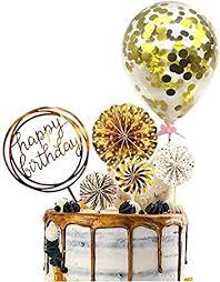 Party Propz Happy Birthday Cake Topper <b>6Pcs</b> with <b>Golden</b> Confetti ...
