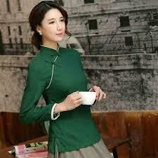 Retro Women <b>Top Chinese Tang Suit</b> T-shirt Folk Blouse Cotton ...