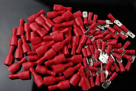 <b>50pcs</b> red flat FDFD+MDD <b>Female</b>+<b>Male</b> Spade <b>Insulated</b> Electrical ...