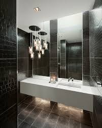 inspired sonneman lighting in bathroom contemporary with double bathroom sink next to black bathroom alongside restroom tile and bathroom chandelier black bathroom lighting
