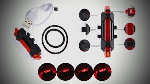 Unbox Portable 5*LED <b>USB Rechargeable bicycle rear</b> lamp ...