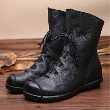 <b>2019</b> New Winter Boots Women <b>Retro</b> Shoes Leather Boots <b>Vintage</b> ...