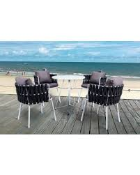 LeisureMod Spencer <b>Modern 5-Piece</b> Rope Bistro Set
