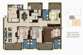 sqft BHK apartment house plan   separate servant room    Above is the typical Indian large four bedroom apartment floor plan having four balcony areas  It has separate small servant room and attached toilet