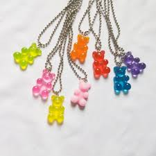 Fashion <b>cartoon</b> multicolor transparent <b>resin</b> bear necklace girl <b>cute</b> ...