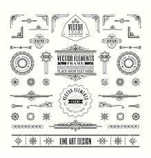 line art deco retro vintage frame design elements vector art deco furniture lines