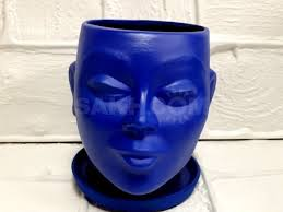 Кашпо - <b>декоративная ваза</b> под цветы в виде головы синего ...