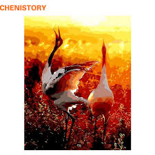 CHENISTORY <b>Frameless</b> Picture Crowned Crane <b>DIY</b> Painting By ...