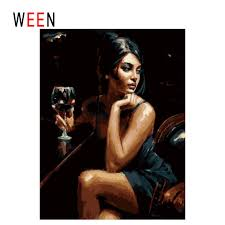 <b>WEEN</b> Woman Drinking <b>DIY Oil</b> Painting By Numbers,Framed Wall ...