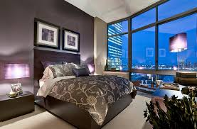 view in gallery purple lampshades enhance the color scheme of this new york bedroom bedroom accent lighting surrounding