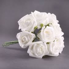 <b>20pcs</b> Latex Touch Flowers Bouquets Rose Wedding Bouquet White ...