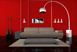 room paint red:  living room red painted wall also black tiles flooring make this modern living room that