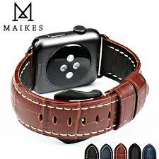 <b>MAIKES New genuine</b> leather watch strap brown men watchband ...