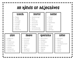all kinds of adjectives esl english as a second language all kinds of adjectives middot her writing