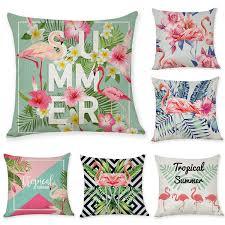 <b>45*45cm Nordic</b> Flamingo Tropical Leaf <b>Cushion Cover</b> Flower ...