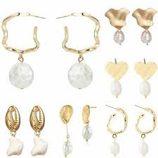 <b>Elegant Pearl Simple Geometric</b> Shell Map Earrings Ear Stud ...