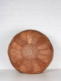 Moroccan Leather <b>Pouffe</b>, <b>Tan</b> | Bohemia Design