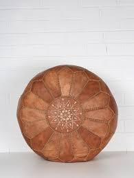 Moroccan Leather <b>Pouffe</b>, <b>Tan</b> | Bohemia Design