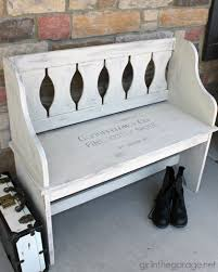 how a dated country bench was painted with chalk paint and a vintage sign stencil bench painted chalk paint