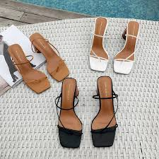MONMOIRA Wood Heel Slipper Women's Sandals <b>Vintage Square</b> ...