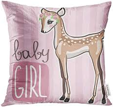 UPOOS Throw Pillow Cover Pink Adorable <b>Little Baby Deer</b> Cute ...