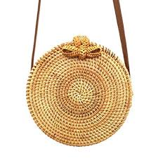 Yeldou Handwoven Round Rattan <b>Bag</b> with Shoulder Leather Strap ...