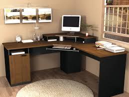 corner black polished teak wood desk with brown wooden flat eased f table top and storage beautiful corner desks furniture