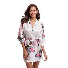 <b>Sexy</b> White Printed Female <b>Mini Silk Robe</b> Rayon <b>Kimono</b> Women's ...